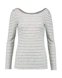 Splendid - Gray Ballet Striped Ribbed-jersey Top - Lyst