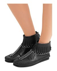 Alexander Wang - Black Montana Pebbled Leather Moccasin Bootie - Lyst
