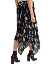 KENZO - Black Floral-print Plissé-georgette Skirt - Lyst
