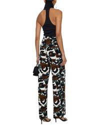 Norma Kamali - Black Printed Stretch-jersey Wide-leg Pants - Lyst