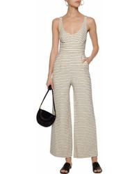 Mara Hoffman - White Striped Cotton-blend Basketweave Jumpsuit - Lyst