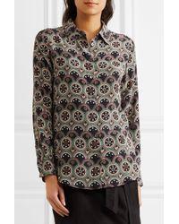 Equipment | Black Circular Print Shirt | Lyst