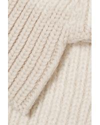 Duffy - White Two-tone Merino Wool-blend Fingerless Gloves - Lyst