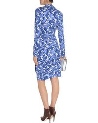 Diane von Furstenberg | Jeanne Printed Silk-jersey Wrap Dress Bright Blue | Lyst