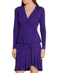 Roberto Cavalli - Purple Wrap-effect Ruffled Stretch-jersey Mini Dress - Lyst