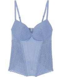 La Perla - Blue Greta Tulle-paneled Stretch-satin Bustier - Lyst