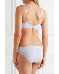 Calvin Klein - Blue Naked Touch Mesh-trimmed Stretch-satin Low-rise Briefs - Lyst