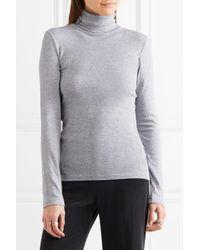 Splendid - Supima Cotton And Modal-blend Jersey Turtleneck Top Light Gray Size L - Lyst