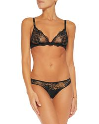 Stella McCartney - Black Julia Stargazing Low-rise Leavers Lace, Satin And Swiss-dot Tulle Briefs - Lyst