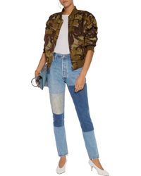 Re/done | Blue High-rise Patchwork Slim-leg Jeans Mid Denim | Lyst