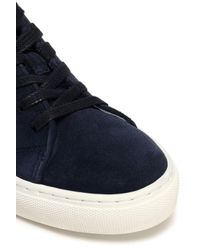 Claudie Pierlot - Blue Floral-print Leather-trimmed Suede Sneakers - Lyst