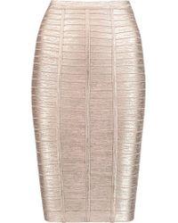 Hervé Léger - Multicolor Metallic Bandage Pencil Skirt - Lyst