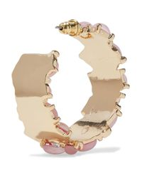 Kenneth Jay Lane - Woman Gold-tone, Stone And Crystal Hoop Earrings Baby Pink Size -- - Lyst