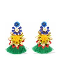 Elizabeth Cole - Woman 24-karat Gold-plated, Stone, Acrylic And Tassel Earrings Multicolor - Lyst