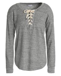 Splendid - Woman Lace-up Marled Waffle-knit Top Gray - Lyst