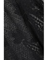Miguelina - Black Appliquéd Crocheted Cotton Poncho - Lyst