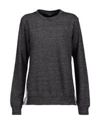 CLU - Gray Wrap-effect Striped Cotton-blend Poplin-paneled Cotton-blend Terry Sweatshirt - Lyst