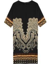 Etro - Black Printed Stretch-silk Dress - Lyst