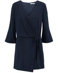 Halston Heritage - Blue Wrap-effect Crepe Mini Dress - Lyst
