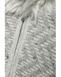 Joie - Gray Purnima Oversized Faux Fur-trimmed Woven Wool-blend Sweater - Lyst