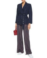 Sandro Blue Loulou Belted Embroidered Twill Jacket Navy