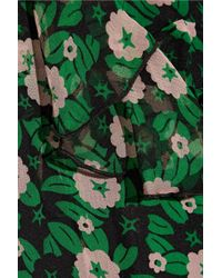 Anna Sui - Ruffle-trimmed Floral-print Silk-georgette Wrap Dress Leaf Green - Lyst