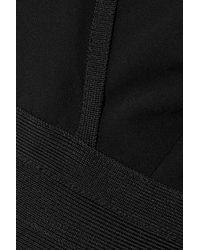 Hervé Léger - Hervé Léger Woman Bandage-paneled Pleated Crepe De Chine Jumpsuit Black - Lyst