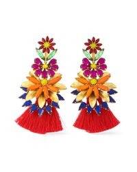 Elizabeth Cole - Red 24-karat Gold-plated, Stone, Acrylic And Tassel Earrings - Lyst