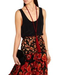 Oscar de la Renta | Red Tasseled Silk Beaded Necklace | Lyst