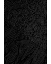 Oscar de la Renta - Black Fringed Silk-blend Cloqué Mini Dress - Lyst