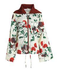 Ganni - White Greenwood Floral-print Shell Jacket - Lyst
