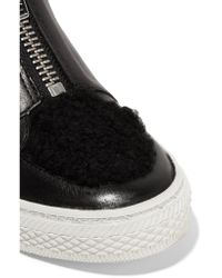 Loeffler Randall - Black Devin Shearling-trimmed Leather Sneakers - Lyst