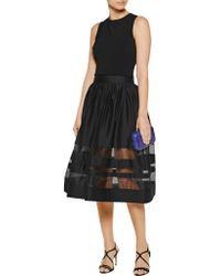 Alice + Olivia | Black Misty Silk-paneled Cotton-blend Sateen Skirt | Lyst