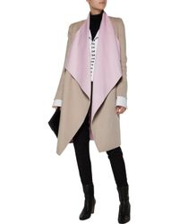 Vionnet - Multicolor Two-tone Draped Wool And Angora-blend Coat - Lyst