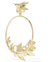 Noir Jewelry - Metallic Gold-tone Crystal Hoop Earrings - Lyst