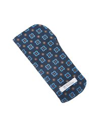 Calabrese 1924 - Blue Navy And Turquoise Geometric Silk Glasses Pouch - Lyst