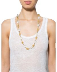 Chanel - Metallic Faux Pearl Necklace Gold - Lyst
