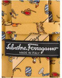 Ferragamo - Yellow Print Silk Tie for Men - Lyst