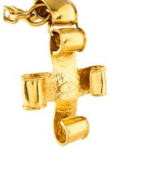 Chanel   Metallic Cc Ribbon Cross Pendant Necklace Gold   Lyst