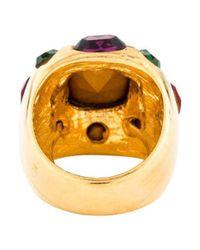 Kenneth Jay Lane - Metallic Crystal Cocktail Ring Gold - Lyst