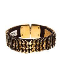 Miu Miu - Metallic Miu Leather Scales Cuff Gold - Lyst