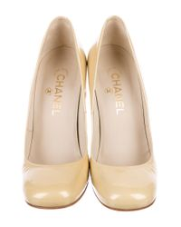 Chanel - Metallic Patent Leather Round-toe Pumps Yellow - Lyst