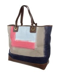 Loro Piana - Metallic Leather-trimmed Printed Tote Brown - Lyst