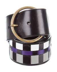 cc3bc98e23335 Lyst - Miu Miu Miu Leather Woven Belt in Black