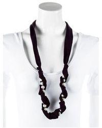 Lanvin - Metallic Woven Faux Pearl Necklace Silver - Lyst