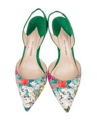 Paul Andrew - Green Pointed-toe Slingback Pumps - Lyst