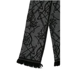 Vivienne Westwood - Gray Patterned Knit Scarf Grey - Lyst