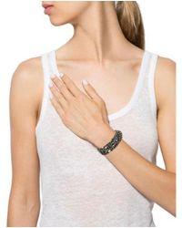 DANNIJO - Metallic Woven Chain Crystal Accented Cuff Bracelet W/ Tags Silver - Lyst