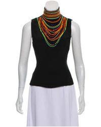 Tamara Mellon - Black Beaded Sleeveless Top - Lyst