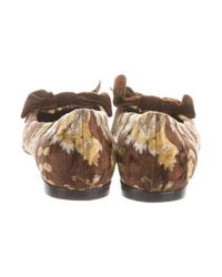 Casadei - Brown Velvet Bow-accented Flats - Lyst